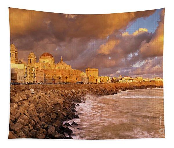 Skyline From Campo Del Sur Cadiz Spain Tapestry