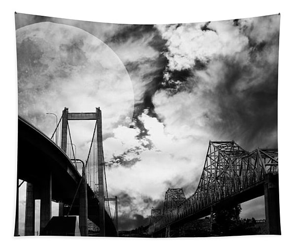 Two Bridges One Moon Tapestry