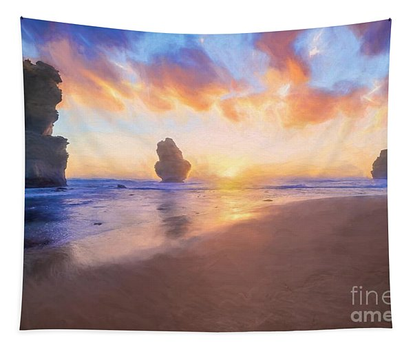 12 Apostles With Marshmallow Skies    Og Tapestry