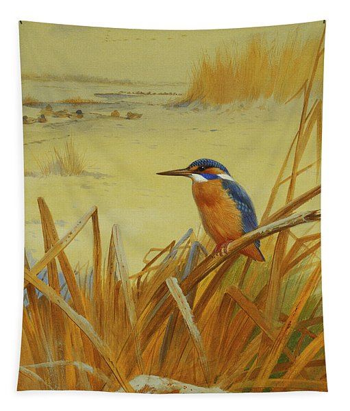 A Kingfisher Amongst Reeds In Winter Tapestry