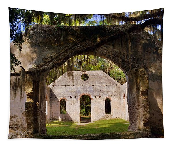 A Look Into The Chapel Of Ease St. Helena Island Beaufort Sc Tapestry