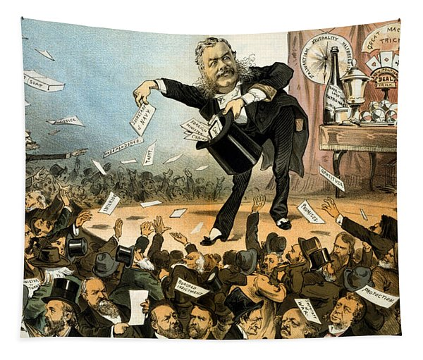 A Presidential Conjuror - President Arthur - Vintage Political Poster Tapestry