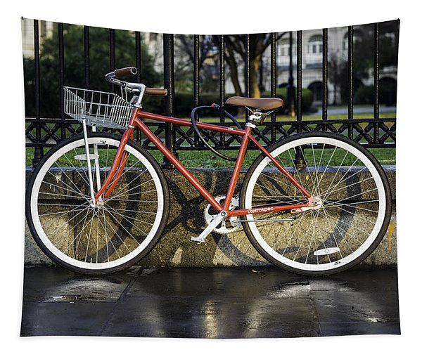 A Red Bicycle Near Jackson Square, New Orleans, Louisian Tapestry
