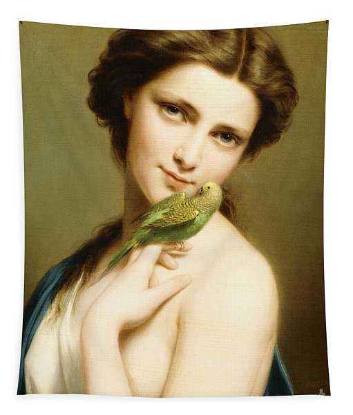 A Young Beauty With A Parakeet Tapestry