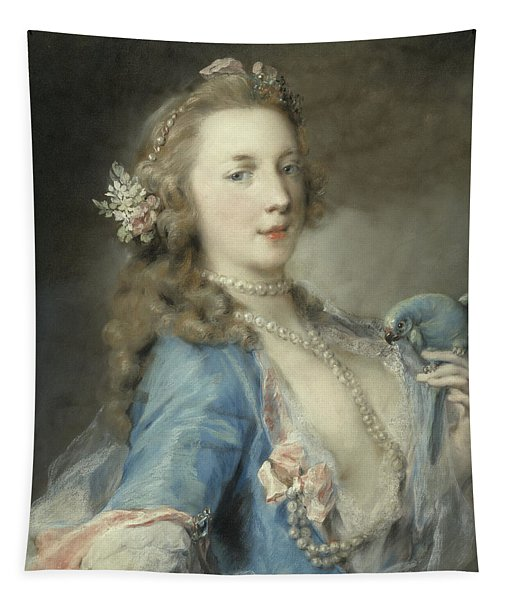A Young Lady With A Parrot Tapestry