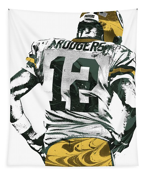 Aaron Rodgers Green Bay Packers Pixel Art 6 Tapestry