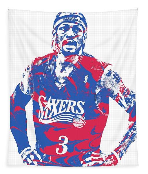 Allen Iverson Philadelphia 76ers Pixel Art 15 Tapestry