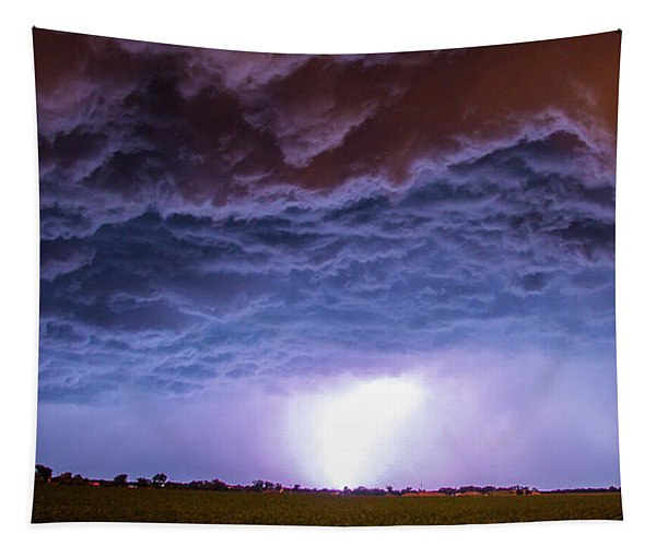 Tapestry featuring the photograph Another Impressive Nebraska Night Thunderstorm 007 by NebraskaSC