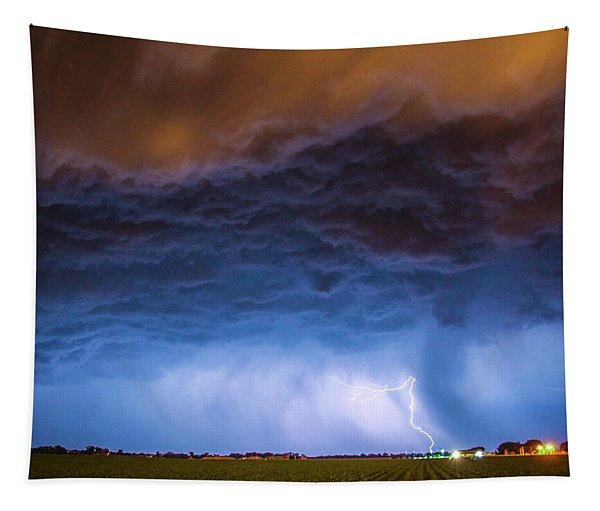 Tapestry featuring the photograph Another Impressive Nebraska Night Thunderstorm 008/ by NebraskaSC