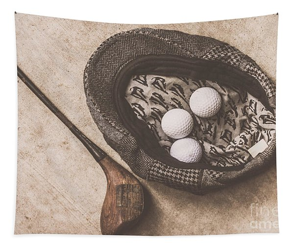Antique Golfer Still Life Tapestry