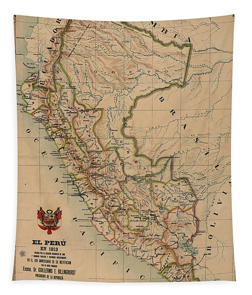 Antique Maps - Old Cartographic Maps - Antique Map Of Peru, South America, 1913 Tapestry