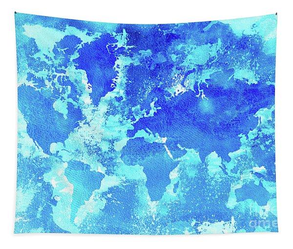 Aqua World Map Tapestry