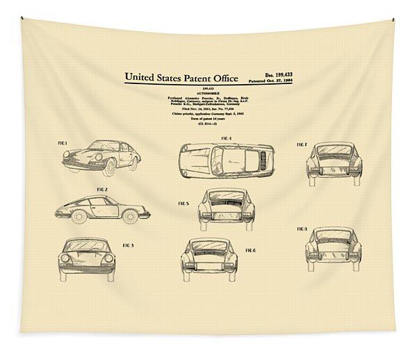 Porsche 911 Patent Tapestry