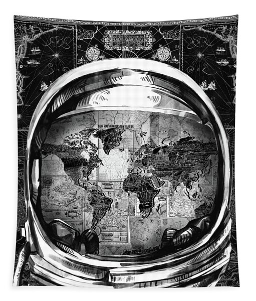 Astronaut World Map 1 Tapestry
