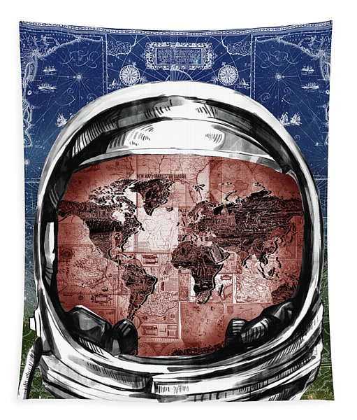 Astronaut World Map 3 Tapestry