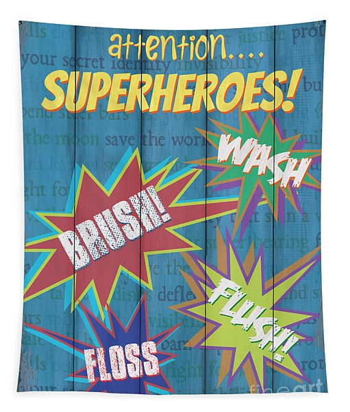 Attention Superheroes Tapestry