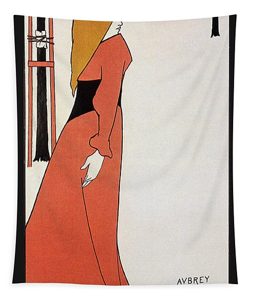 Aubrey Beardsley - Girl In Red Gown - Vintage Advertising Poster Tapestry