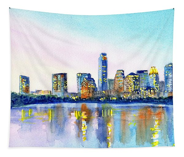 Austin Texas Skyline Tapestry