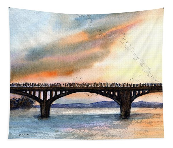 Austin, Tx Congress Bridge Bats Tapestry