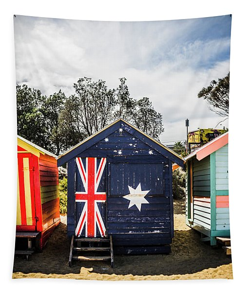 Australia Bathing Boxes Tapestry