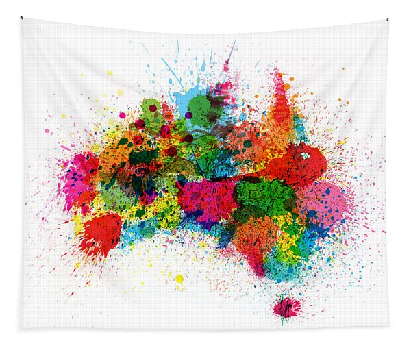Australia Paint Splashes Map Tapestry