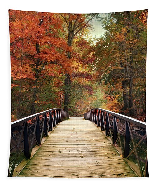 Autumn Woodland Crossing Tapestry