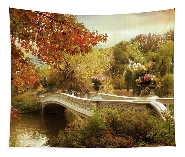 Autumn's Arrival At Bow Bridge Tapestry
