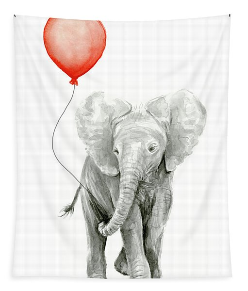 Baby Elephant Watercolor Red Balloon Tapestry