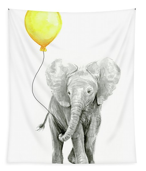 Baby Elephant Watercolor With Yellow Balloon Tapestry