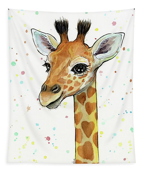 Baby Giraffe Watercolor With Heart Shaped Spots Tapestry
