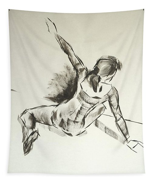 Ballet Dancer Sitting On Floor With Weight On Her Right Arm Tapestry