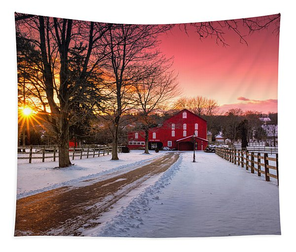Barn At Sunset  Tapestry