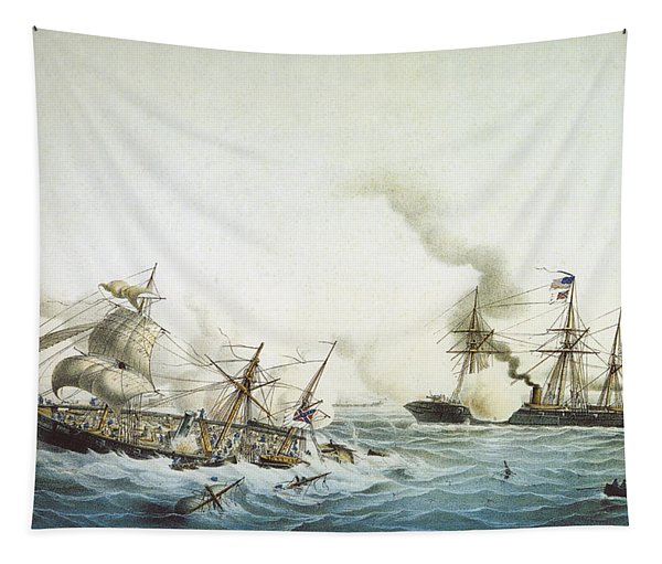 Battle Of Kearsarge And The Alabama - Civil War Painting Tapestry