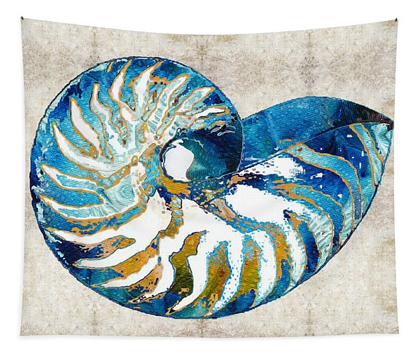Beach Art - Nautilus Shell Bleu - Sharon Cummings Tapestry