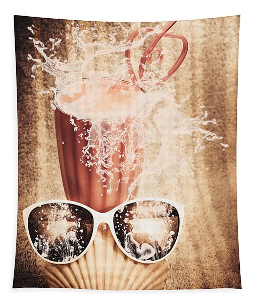 Beach Milkshake With A Strawberry Splash Tapestry
