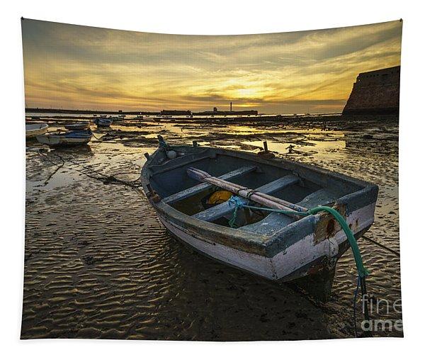Beached Boat On La Caleta Cadiz Spain Tapestry