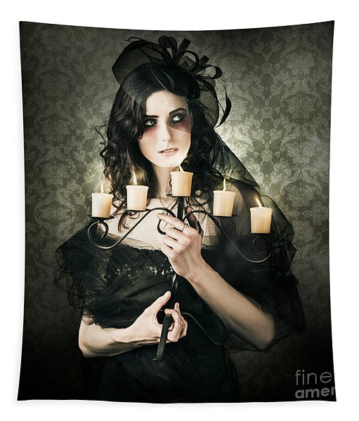Beautiful Grunge Woman In Dark Vogue Fashion Style Tapestry