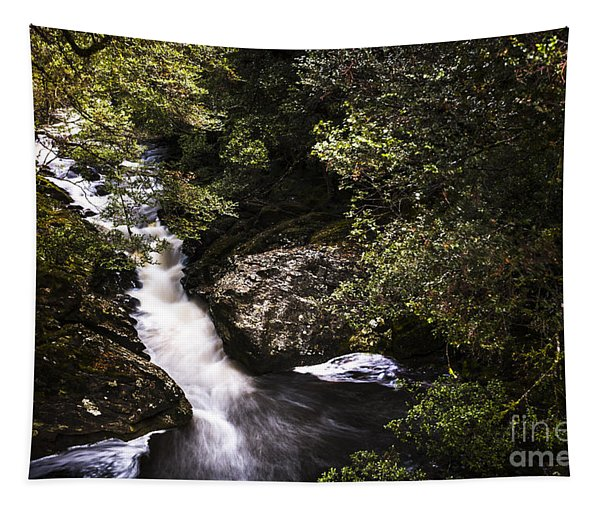 Beautiful Nature Landscape Of A Flowing Waterfall Tapestry