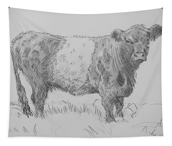 Belted Galloway Cow Pencil Drawing Tapestry