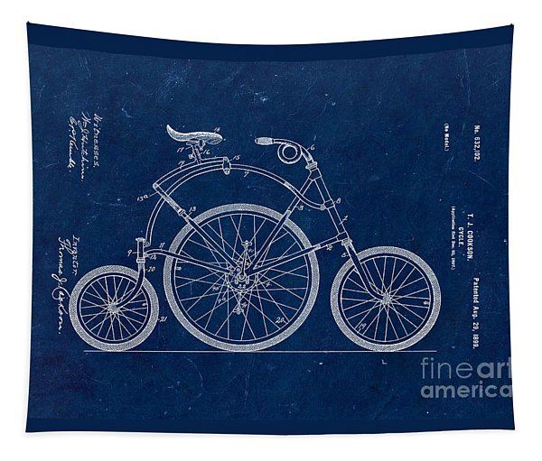 Bicycle From 1899 - Blue Tapestry