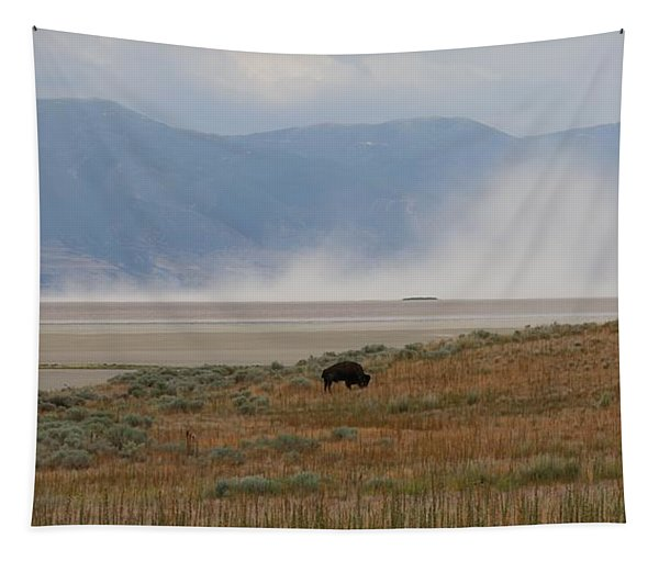 Tapestry featuring the photograph Bison Grazing At Salt Lake by Christy Pooschke