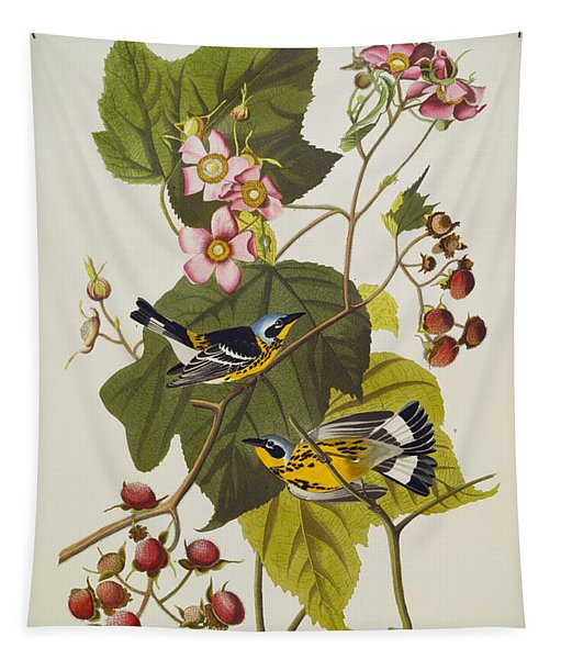 Black And Yellow Warbler Tapestry