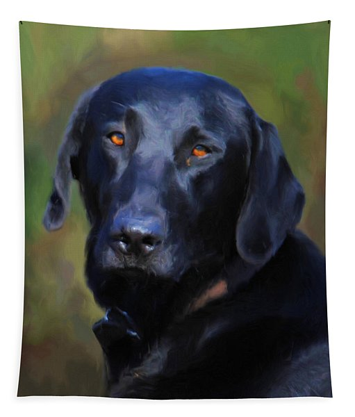 Black Lab Portrait Tapestry