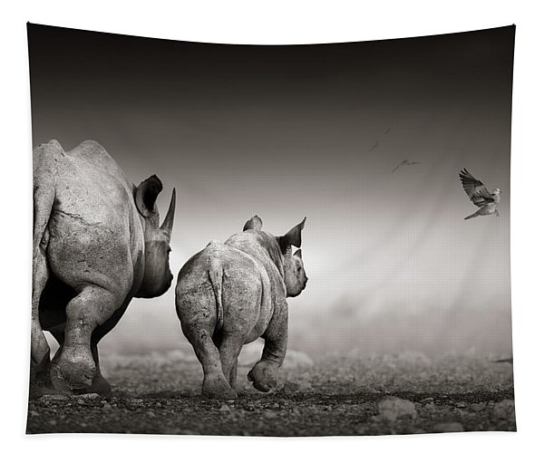 Black Rhino Cow With Calf  Tapestry