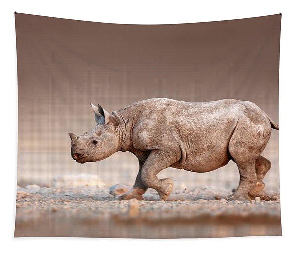 Black Rhinoceros Baby Running Tapestry