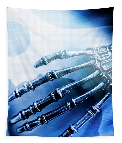 Blue Android Hand Tapestry