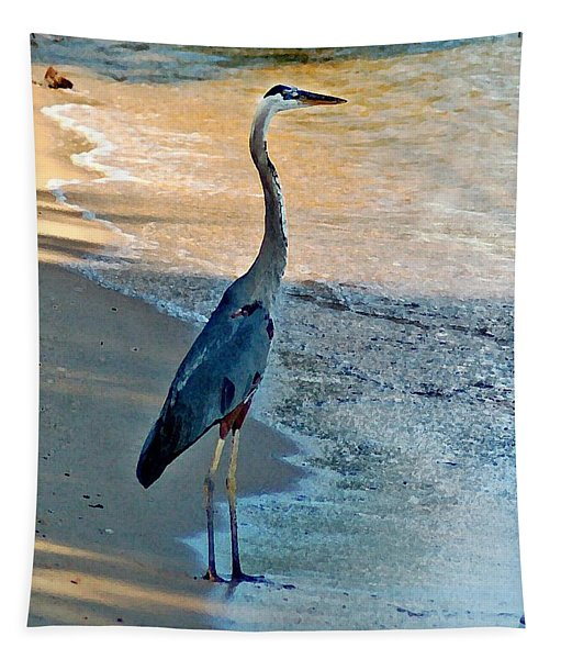 Blue Heron On The Beach Close Up Tapestry