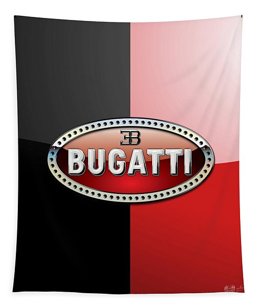 Bugatti 3 D Badge On Red And Black  Tapestry