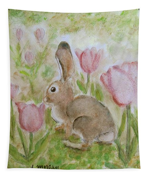 Bunny In The Tulips Tapestry