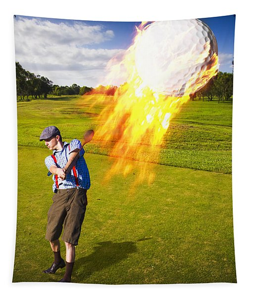 Burning Golf Ball Tapestry
